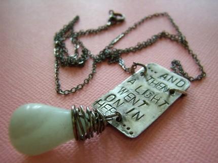 light bulb handstamped antiqued sterling pendant