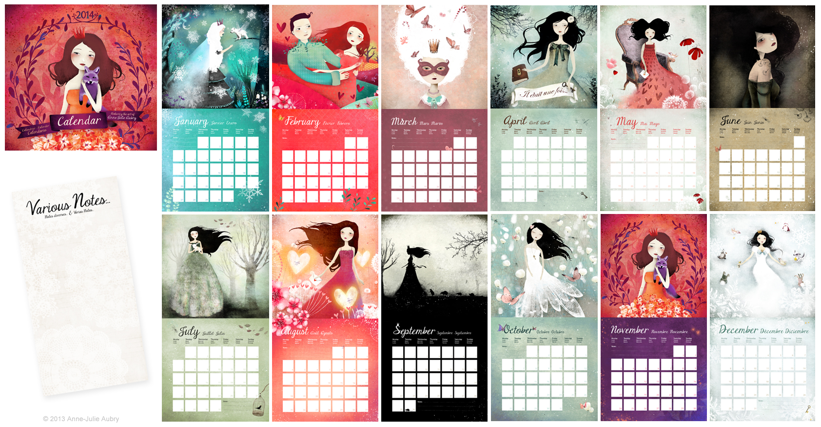 2014 Calendar from artist Anne-Julie Aubry - available at https://www.etsy.com/shop/TheNebulousKingdom