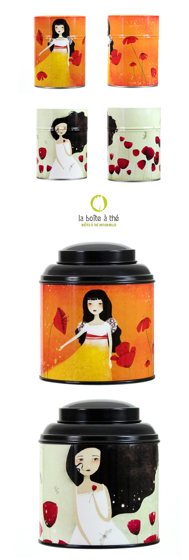 Illustrated Tea Caddies by Anne-Julie Aubry and http://www.la-boite-a-the.com