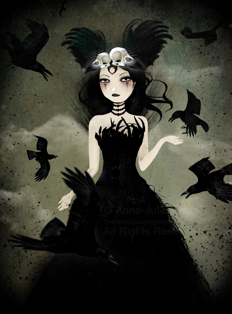 The Crow Queen - illustration  © 2014  Anne-Julie Aubry -  www.annejulie-art.com - https://www.etsy.com/shop/TheNebulousKingdom