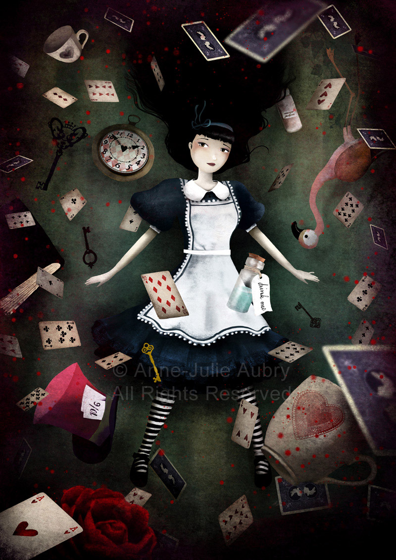 """Down the Rabbit Hole"" (Alice in Wonderland) © 2014 Anne-Julie Aubry - www.annejulie-art.com"