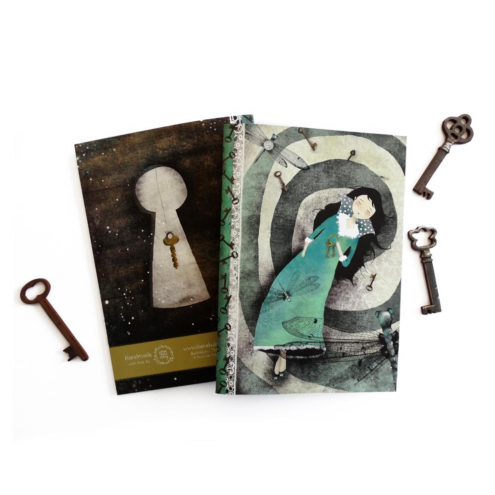 """The Spiral of Dreams"" Handmade Notebook by Anne-Julie Aubry -  www.annejulie-art.com - https://www.etsy.com/shop/TheNebulousKingdom"