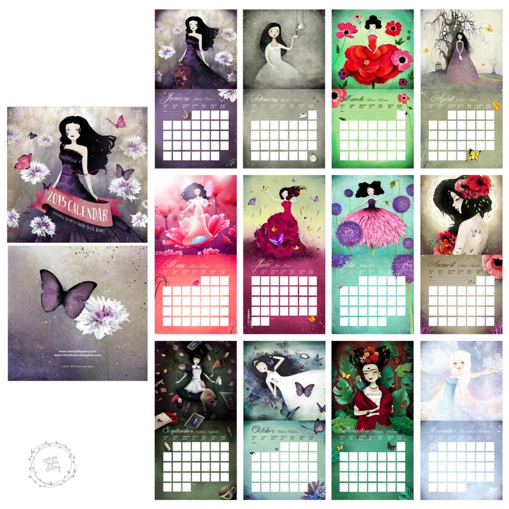 2015 Calendar by Anne-Julie Aubry - www.annejulie-art.com - https://www.etsy.com/shop/Th