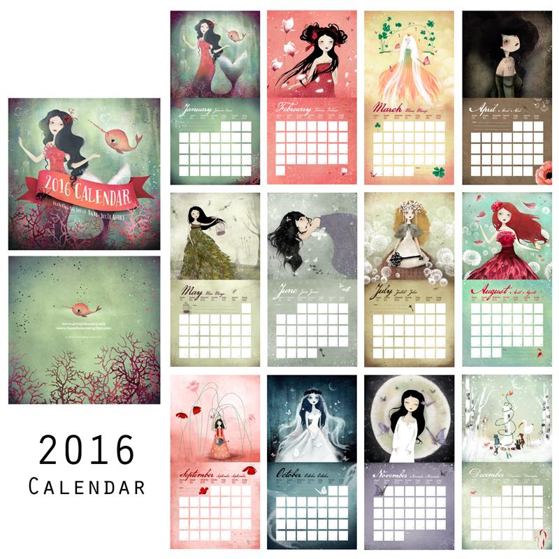 2016 Calendar by Anne-Julie Aubry - https://www.thenebulouskingdom.com