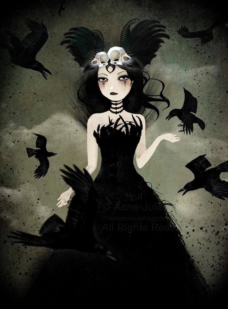 The Crow Queen - illustration  © 2014  Anne-Julie Aubry -  www.annejulie-art.com - https://www.etsy.com/shop/TheNebulousKingdom