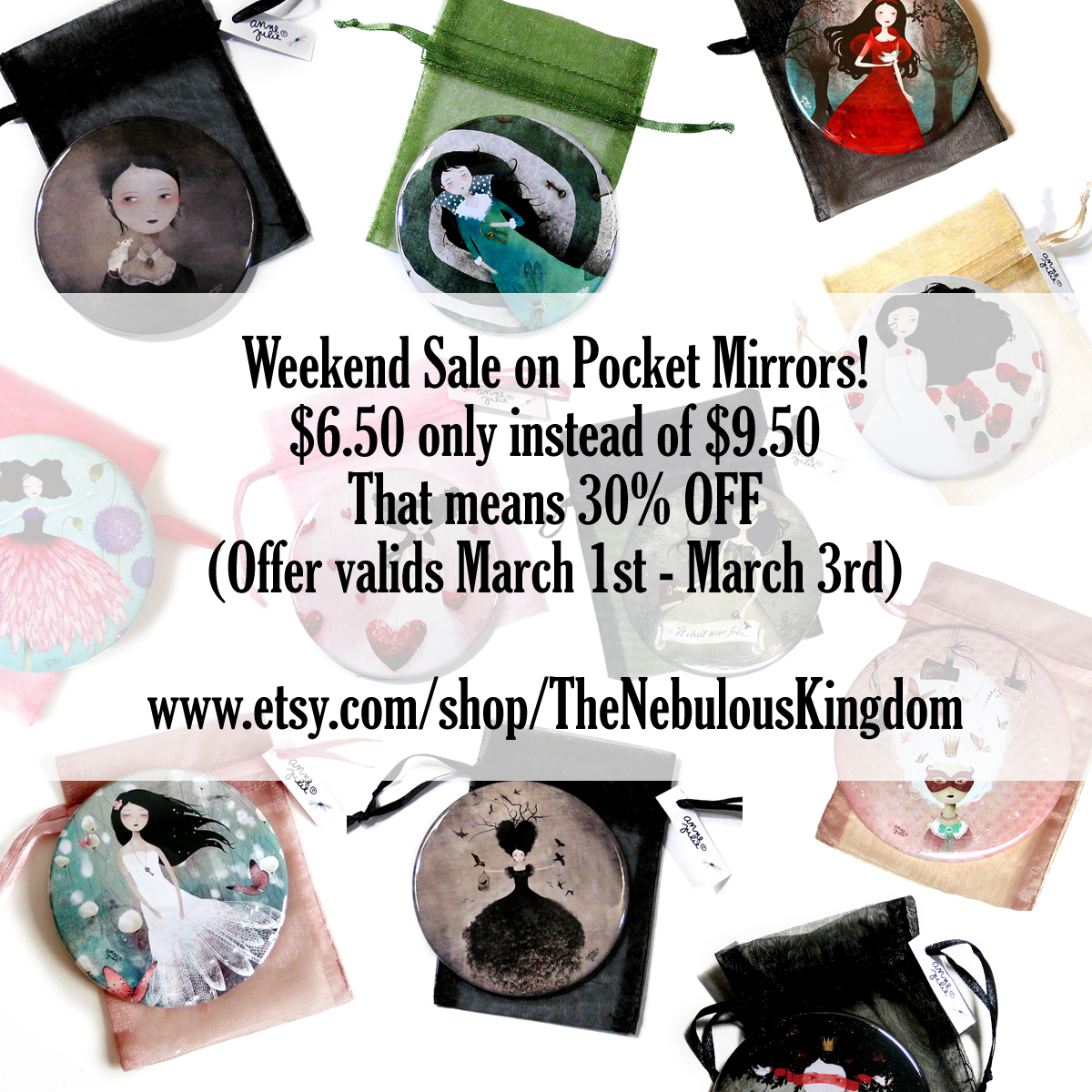 Pocket Mirrors with Art from Anne-Julie Aubry - https://www.etsy.com/shop/TheNebulousKingdom