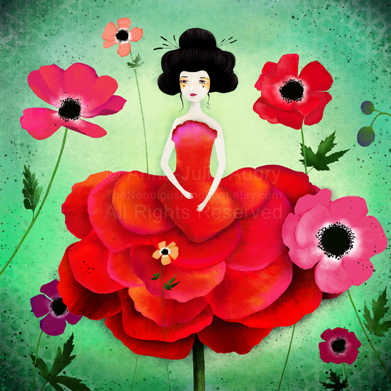 """Anemone"" - illustration  © 2014  Anne-Julie Aubry -  www.annejulie-art.com - https://www.etsy.com/shop/TheNebulousKingdom"