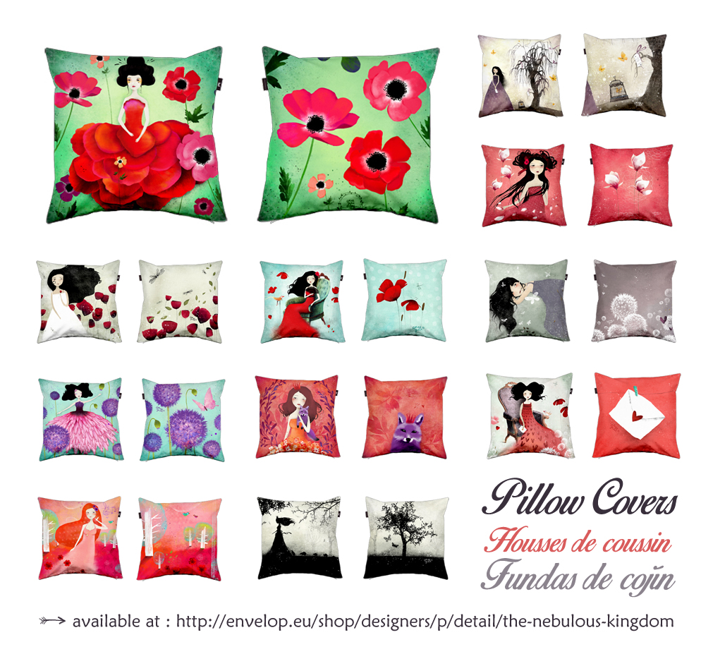 Collection of Pillow covers  by Anne-Julie Aubry - available at : http://envelop.eu/shop/designers/p/detail/the-nebulous-kingdom