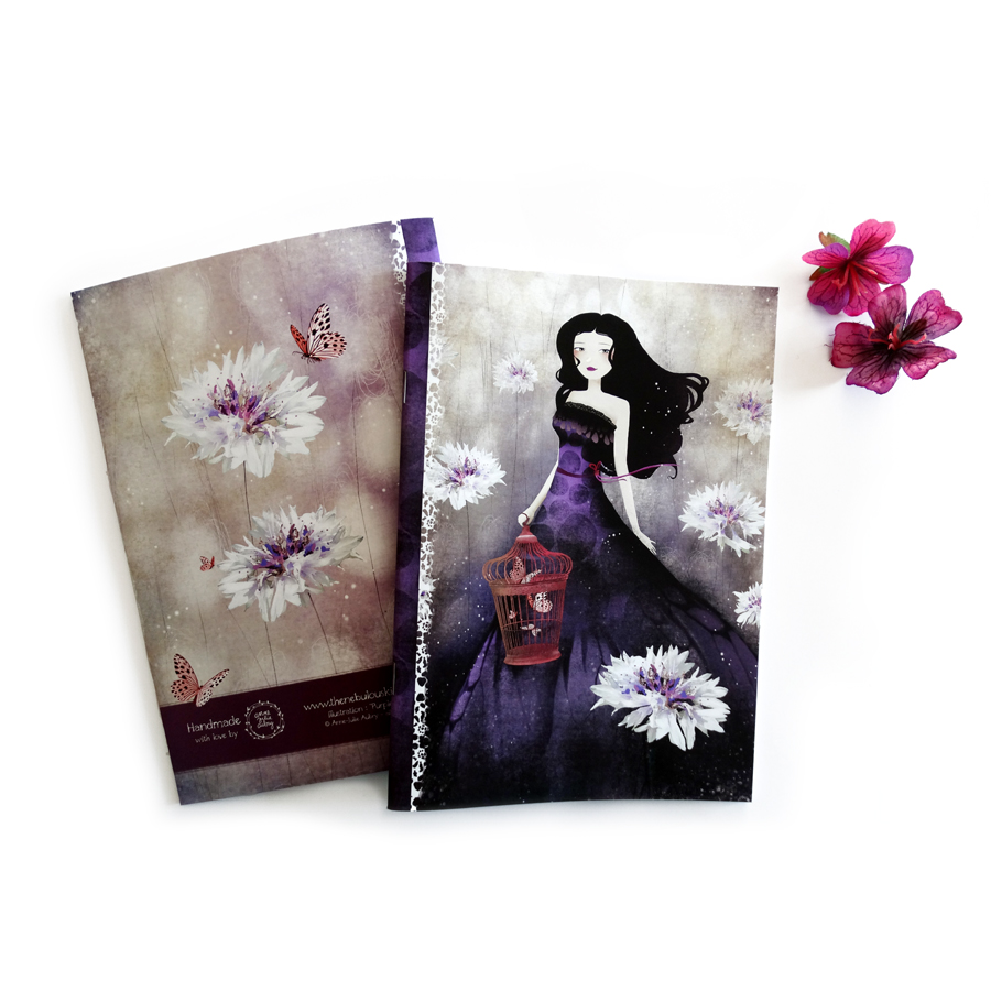 """Purple Meadow"" Handmade Notebook by Anne-Julie Aubry -  www.annejulie-art.com - https://www.etsy.com/shop/TheNebulousKingdom"