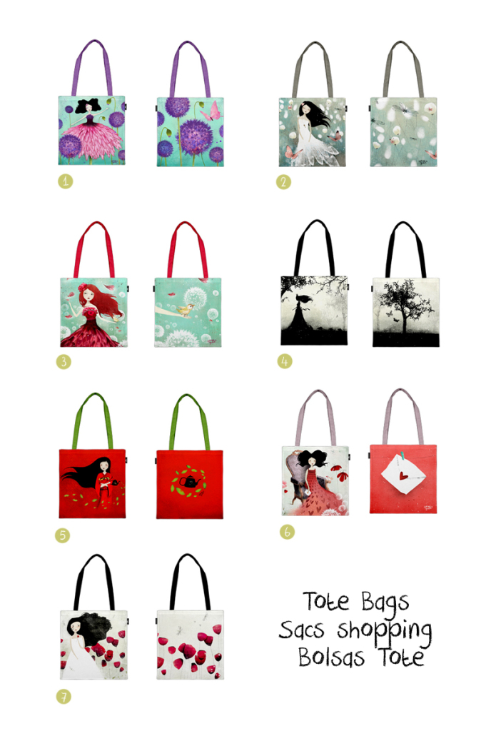 Collection of Tote Bags  by Anne-Julie Aubry - available at : http://envelop.eu/shop/designers/p/detail/the-nebulous-kingdom