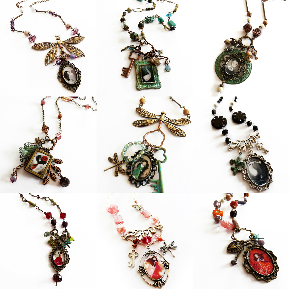 Jewelry mosaic from the March 2015 collection of jewelry - www.annejulie-art.com / www.thenebulouskingdom.com