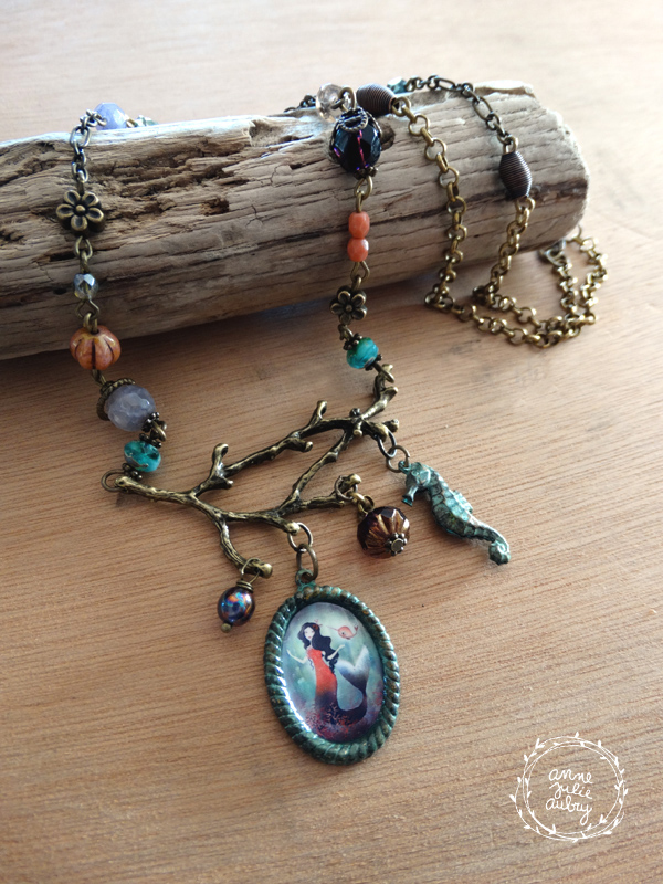 Mermaid and Narwhal necklace - Handmade Jewelry collection © Anne-Julie Aubry / The Nebulous Kingdom